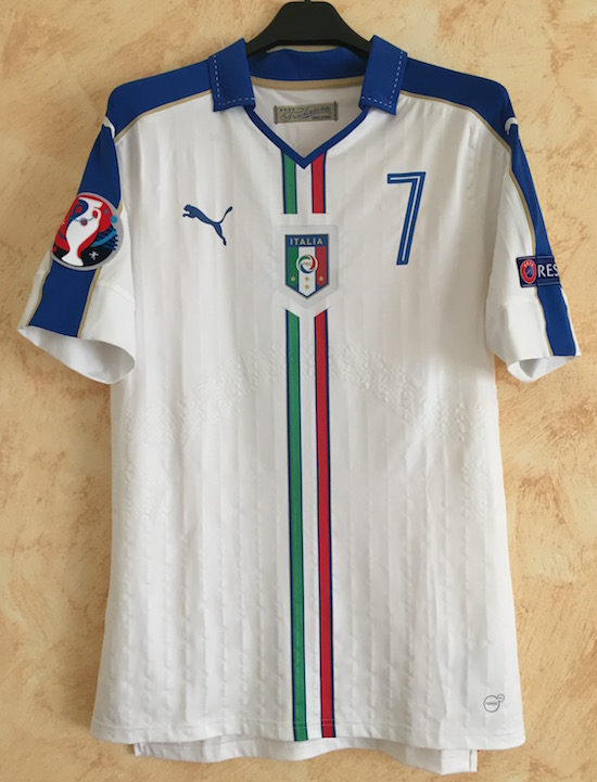 7701abe6d Away white 2016 - Zaza n. 7 issued in the bench for Euro Cup match Belgium  - Italy (0-2)